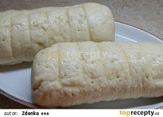Těsto na houskový knedlík z pekárny recept - TopRecepty.cz Sausage, Side Dishes, Dairy, Cheese, Meat, Sausages, Side Plates, Side Dish, Hot Dog