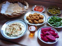 Palestinian breakfast-falafel w hummus w pita bread