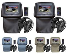 "$189.99 Set of 2: Pyle Audio Adjustable Car Headrests w/7"" LCD Monitors, Built-In DVD Players, 32 Video Games, Remote & Wireless Headsets Included"