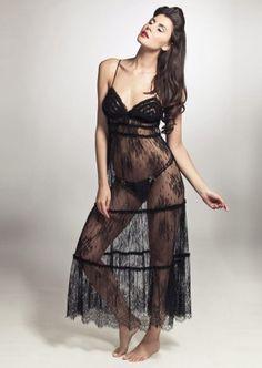 Marjolaine Nuit Longue Noir | Marjolaine Luxury Nightwear | Marjoliane Nightdress.