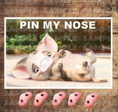 MOANA PARTY GAME, Pua Pin My Nose, 11x17 inches by TRUSTITI on Etsy