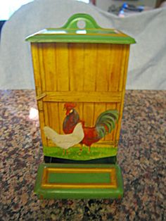 Vintage rooster motif kitchen matchsafe for sale at More Than McCoy at http://wwwmorethanmccoy.com