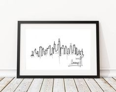 Chicago Skyline Drawing | Original artwork | Architectural drawing | Pen and Ink by hand | 8x10 Wall Print