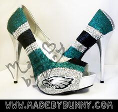 OMG. i covet these so very, very badly!!! Philadelphia Eagles NFL Football Team Glitter Sports Heel Design with Crystal Rhinestones from MADE BY BUNNY
