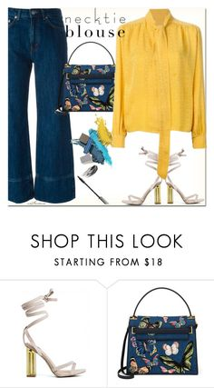 """Hello Yellow"" by arethaman ❤ liked on Polyvore featuring Valentino, widelegjeans, falltrend, laceupsandals and necktieblouse"