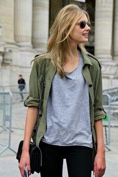 gray shirt + green jacket