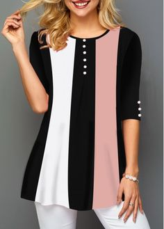 Tops For Women Button Embellished Half Sleeve Round Neck T Shirt Trendy Tops For Women, Shirt Sale, Sewing Clothes, Half Sleeves, Blouse Designs, Dress Designs, Casual Outfits, Women's Casual, Fashion Dresses