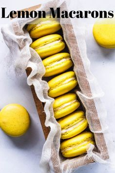 Lemon Macarons filled with lemon curd and buttercream! Lots of tips on this post about how to store French macarons! Lemon Recipes, Baking Recipes, Sweet Recipes, Cookie Recipes, Lemon Macaroons, French Macaroons, French Macarons Recipe, Köstliche Desserts, Delicious Desserts