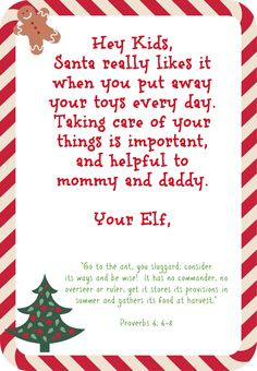 free printables- notes from elf for every day behavior