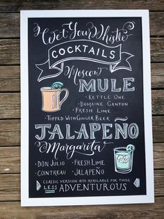 Chalkboard Sign Signature Cocktail, Wet your Whistle Signature Drinks. CHOOSE YOUR SIZE! See Pricing... on Etsy, $425.00