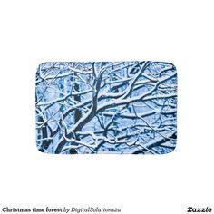 Christmas time forest bath mat