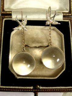 Victorian 9ct Rock Crystal ORB Seed Pearl Earrings Pools of Light
