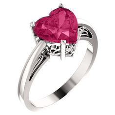 8x8mm Pink Topaz Heart-Cut Solitaire Ring in Silver ($225) ❤ liked on Polyvore featuring jewelry, rings, pink topaz ring, heart-shaped jewelry, pink topaz heart ring, heart shaped rings and heart jewelry