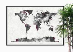 World Map Art Watercolor Art Print Watercolor painting by Fybur