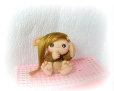 Pink Brown  Baby Troll Cute   Baby Doll Decoration by larysadolls, $33.00