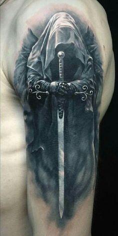 Vikinger Tattoo - Full Shoulder reaper tattoo - List of the most beautiful tattoo models Skull Tattoos, Forearm Tattoos, Body Art Tattoos, Chicano Tattoos, Full Sleeve Tattoo Design, Full Sleeve Tattoos, Tattoo Sleeves, Badass Tattoos, Cool Tattoos