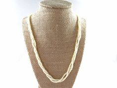 Twisted Ivory Pearl Necklace Simple Twisted by RusticWayTreasures
