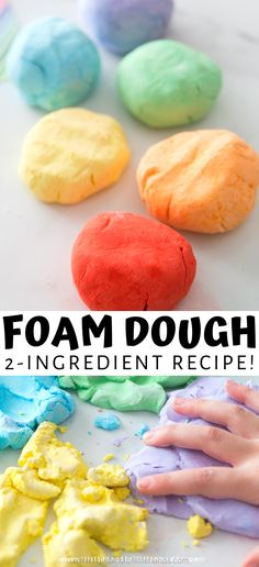 The best sensory toy around! You can easily make this foam dough at home for your kids. Or better yet, have your kids mix and create this dough! A light and fluffy foam dough is the perfect sensory toy for kids who are at home for distance learning and struggling with all of the changes happening during the stay at home orders. Your kids will love to play with this simple to make (only 2 ingredients!) foam dough!  #SensoryTime #KidActivities