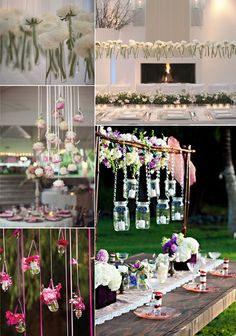 LOVE THIS DECOR!!  unique wedding ideas | unique wedding flower ideas hanging centerpieces | OneWed.com