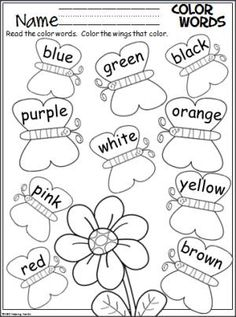 Color Words Activity Free spring butterfly coloring page. Students color the butterfly wings to match the words.Free spring butterfly coloring page. Students color the butterfly wings to match the words. Kindergarten Colors, Preschool Colors, Kindergarten Literacy, Preschool Learning, Kindergarten Worksheets, Preschool Activities, Graphing Worksheets, Coloring Worksheets, Color Word Activities