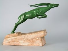 French Art Deco Leaping Ibex by De Marco, made by Max Le Ferrie, 1930
