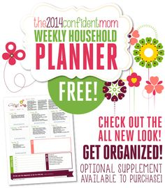 Thank you to Susan of The Confident Mom for offering her Weekly Household Planner FREE now!