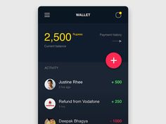 Conceptual design for a wallet app.