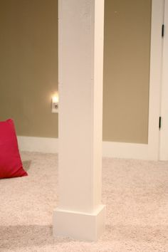 Basement poles into columns - run plugs down the pole for spare room outlets.