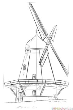 Drawing For Beginners How to draw a windmill step by step. Drawing tutorials for kids and beginners. Doodle Drawings, Art Drawings Sketches, Easy Drawings, Pencil Drawings, Pencil Art, Drawing Tutorials For Kids, Drawing For Beginners, Drawing Techniques, Drawing Tips