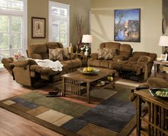 "Catnapper Furniture: Concord Collection featuring power ""Lay Flat"" reclining console loveseat with storage & cupholders, power ""Lay Flat"" reclining sofa and power ""Lay Flat"" recliner. #den #familyroom #lounging"