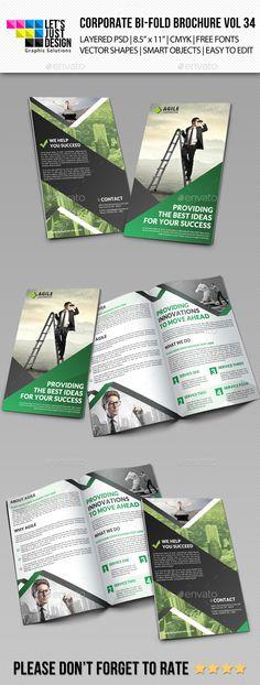 Creative Corporate Bi-Fold Brochure Template #brochure Download: http://graphicriver.net/item/creative-corporate-bifold-brochure-vol-34/11499589?ref=ksioks