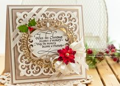 Christmas Card Making Ideas by Becca Feeken using Quietfire Design - When Christmas Becomes and Memory and Spellbinders Victorian Medallion Three - www.amazingpapergrace.com