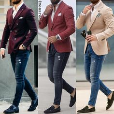 Mens outfit with jeans shirt, parka and watch Blazer Outfits Men, Mens Fashion Blazer, Mens Fashion Wear, Suit Fashion, Fashion Hair, Mens Casual Suits, Stylish Mens Outfits, Men's Suits, Blazers For Men Casual