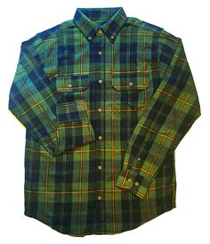 4e4cf7089ec Faded Glory Classic Green and Black Plaid Men s Cotton Flannel Shirt -  Small (34-36) at Amazon Men s Clothing store