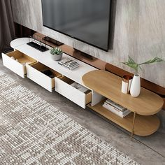 Source Luxury White Movable TV Cabinet And Round Side Table Combination Nordic M. - Source Luxury White Movable TV Cabinet And Round Side Table Combination Nordic Minimalist Living Ro - Tv Unit Furniture, Wood Furniture Living Room, Living Room Tv, Living Room Modern, Furniture Design, Bedroom Modern, Modern Tv Cabinet, Console Tv, Tv Stand Decor