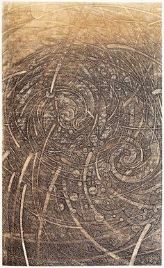 """The Days in the Winds-風紬"" 2011 HAYASHI Takahiko 林孝彦.  Copperplate print (etching) with chine collé. 60 x 36 cm."