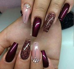 Love color combo for Stephs wedding just Not coffin shape! Glitter Nails, Fun Nails, Crazy Nails, Swag Nails, Prom Nails, Gold Glitter, Love Nails, Burgundy Nails, Nail Art Designs