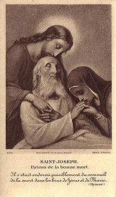A most touching image of Our Lord and His Blessed Mother weeping over the dying Saint Joseph, greatest of all the Angels and Patron of the Universal Church. Saint Joseph, pray for us, that we may be consecrated to the unity of the Universal Church, and to the mission of the Blessed Mother, who you took as your Holy Spouse at the call of an Angel of the Lord, one of those angels whom you preside over in the empyrean Heaven. Through Christ our Lord, Amen.