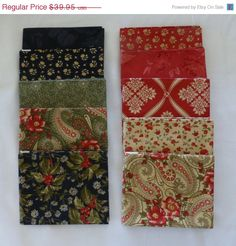 Fantastic January SALE - Moda Wintergreen Fat Quarter Bundle Collection Group # 1 and #4 Designed by 3 Sisters