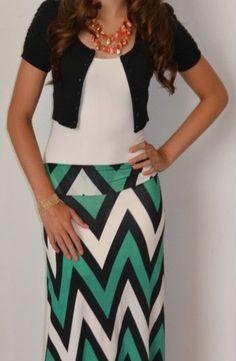 Chevron maxi skirt, white tee, black shrug