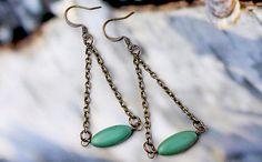 Blue-Green Magnesite and Antiqued Brass Dangle Earrings on Etsy, $15.00