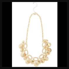 "Gold Bib Necklace Pretty gold toned necklace. Great piece! This measures 19"" plus 3"" extender. New! Jewelry Necklaces"