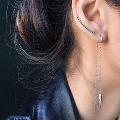 EFC white gold diamond dagger threader + black rhodium diamond curved bar ear cuff  Xo, EF #efcollection