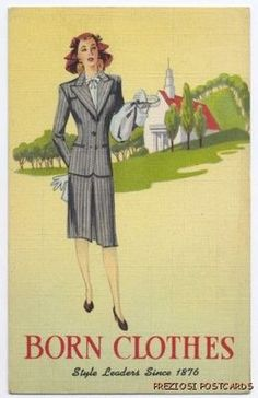Advertising postcard for Born Clothes Womens Suits, 1944