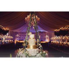 Fabulous #weddingcake setup at this #blue #uplighting #wedding reception! Nice photo via #markericphotography