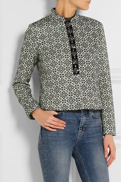 Midnight-blue and white cotton-blend jacquard Concealed zip fastening through front 78% cotton, 12% viscose, 10% acrylic; lining: 100% polyester Dry clean Imported