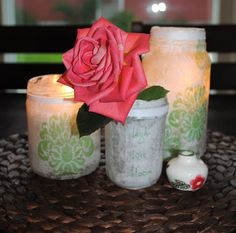 Fancy and pretty paper DIY lanterns made with recycled jars and Mod Podge