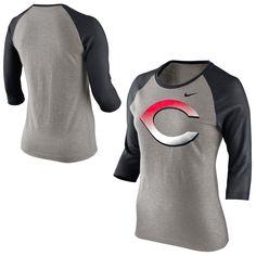 Cincinnati Reds Nike Women's Gradient Raglan Three-Quarter Sleeve Shirt - Gray - $25.64