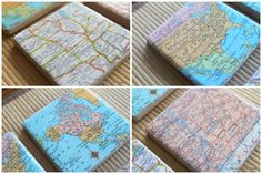Protect the tables in your home with these neat-looking map tile coasters. All you need is tile coasters, maps, and Mod Podge.