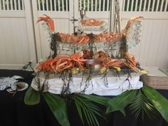 Shrimp Boat Ice Sculpture with real seaweed Shrimp & Crab